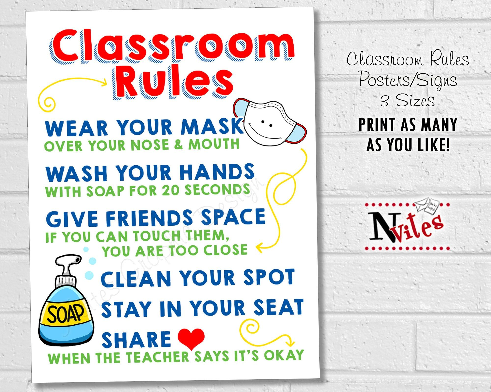Classroom Rules Posters School Safety Signs Elementary