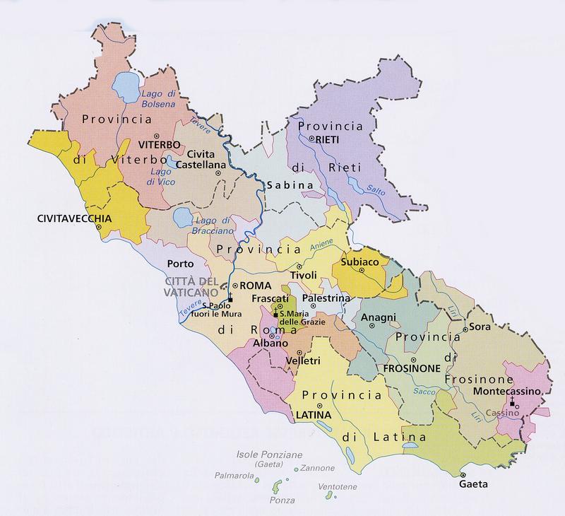 Cartina Regione Lazio Da Stampare.Roma Cartina Politica