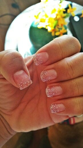 Pink glitter ombre fade gel nails
