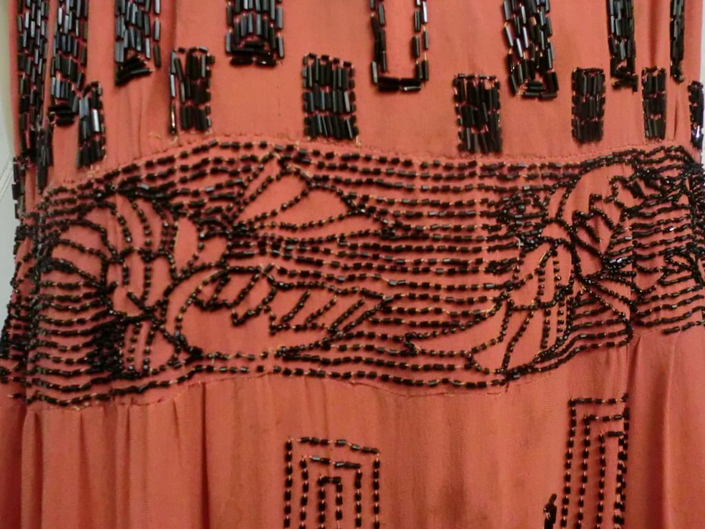 1920s Art Deco Beaded Swallowtail Motif Flapper Dress