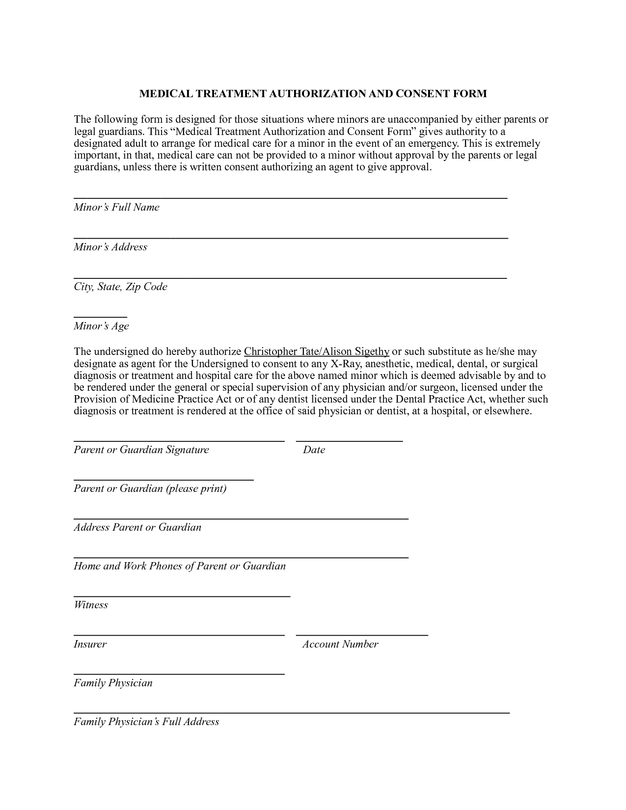 Medical Authorization Form – Free Child Medical Consent Form