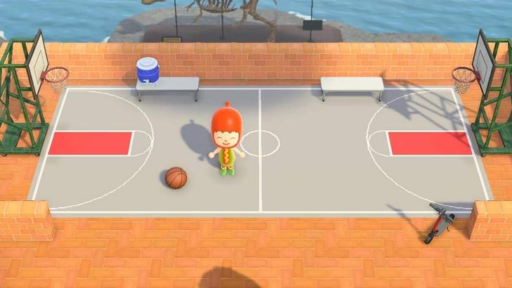 Happy With How My Basketball Court Turned Out It Used Up 32 Design Slots In 2020 Animal Crossing Animal Crossing Game Animal Crossing Qr