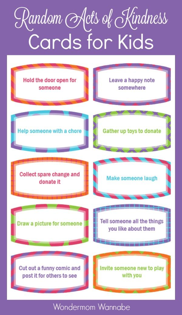 image about Kindness Cards Printable known as Free of charge Printable Random Functions of Kindness Playing cards for Youngsters Female