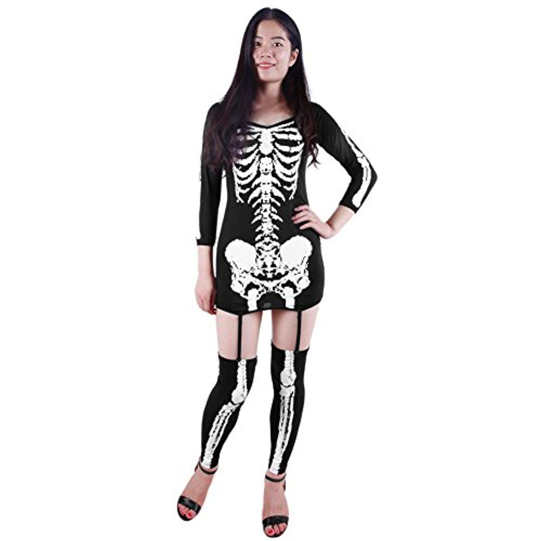 Chnus women skeleton bones print bodycon tunic dress halloween party