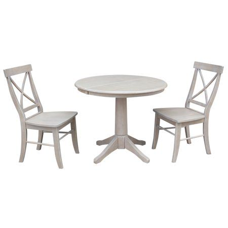 36 Inch Round Dining Table With 12 Leaf And 2 X Back