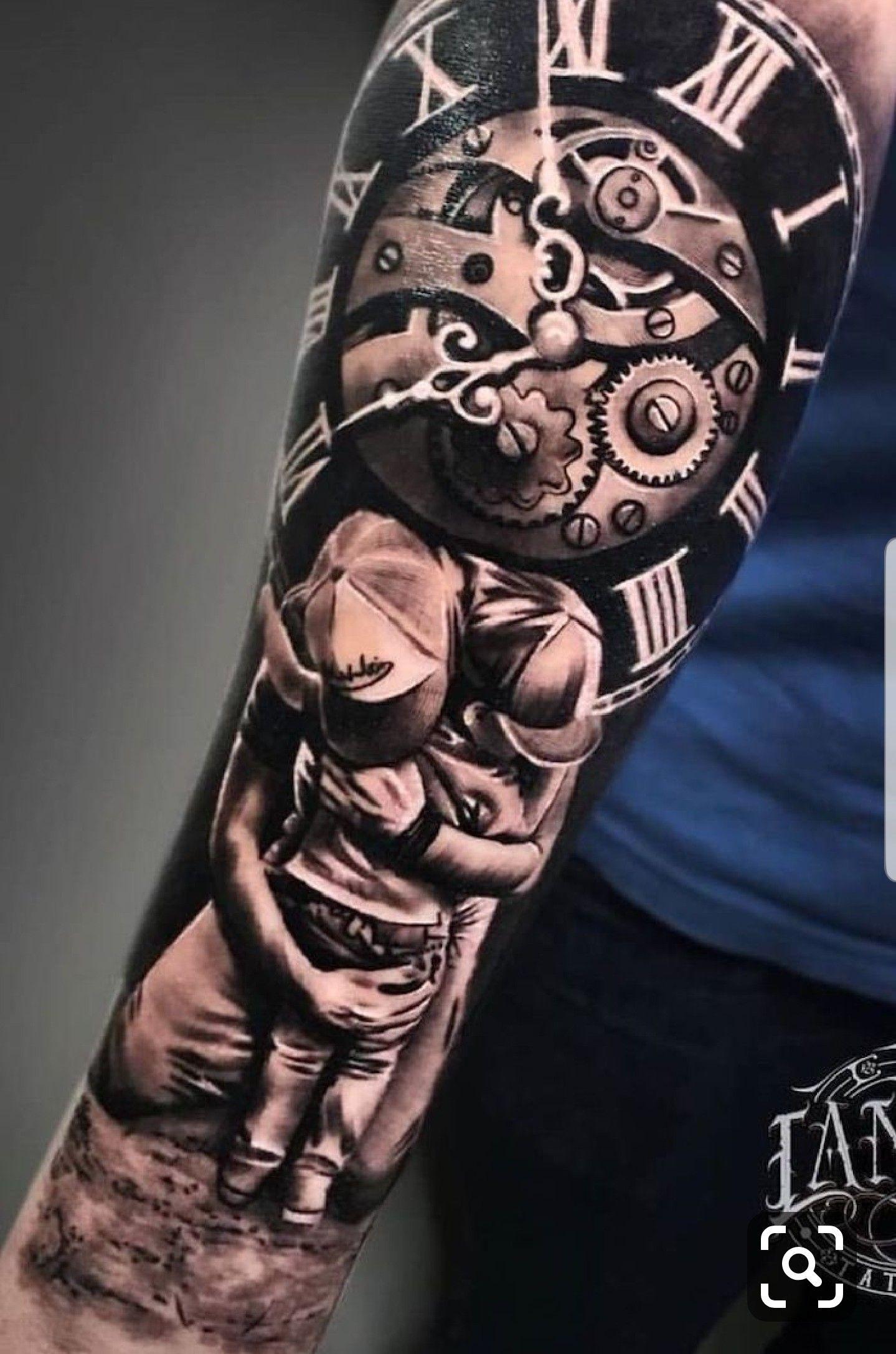 Pin By Dave Barner On Tattoo Ideas Father Tattoos Clock Tattoo Roman Numeral Tattoos