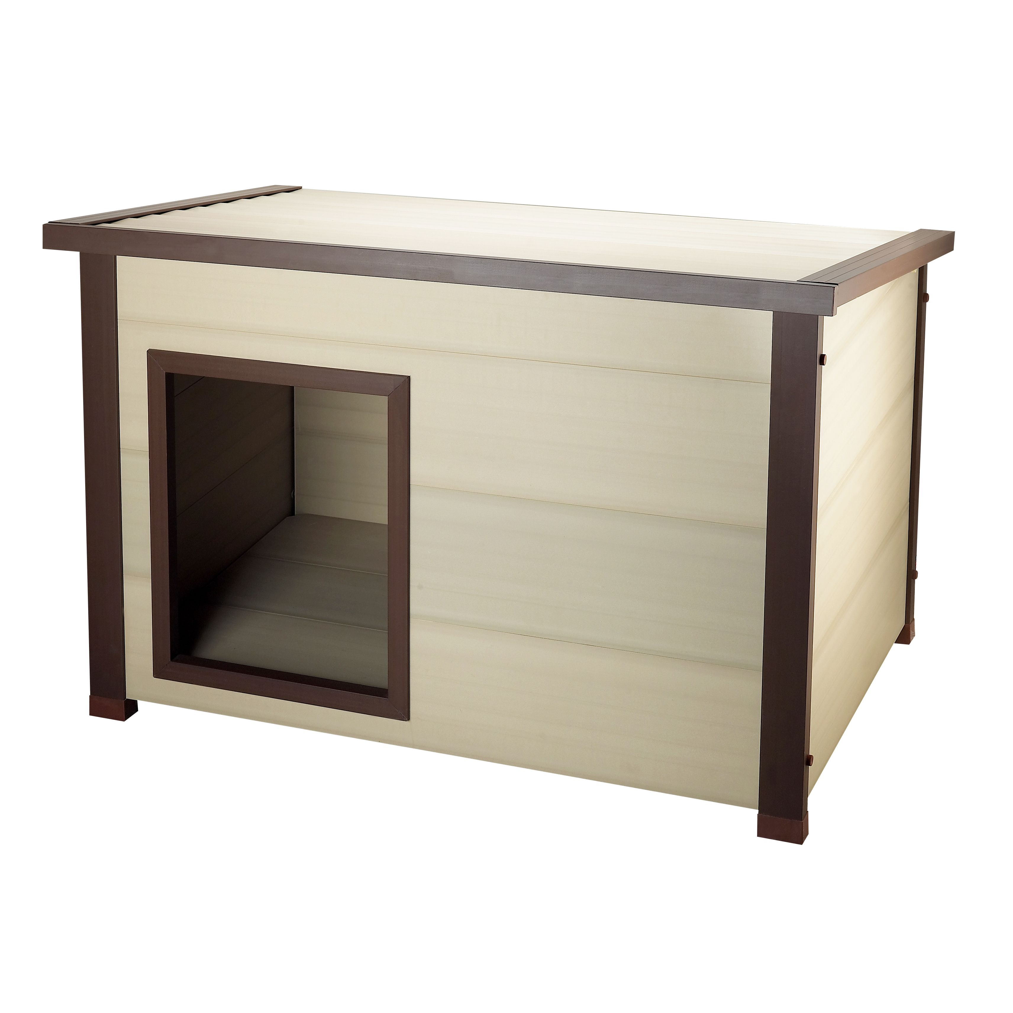 The insulated ThermoCore Canine Cottage will provide a cozy spot for your pet to shield them from the elements. This step-in design dog house is elevated from the ground and is built with a flow-through ventilation system.