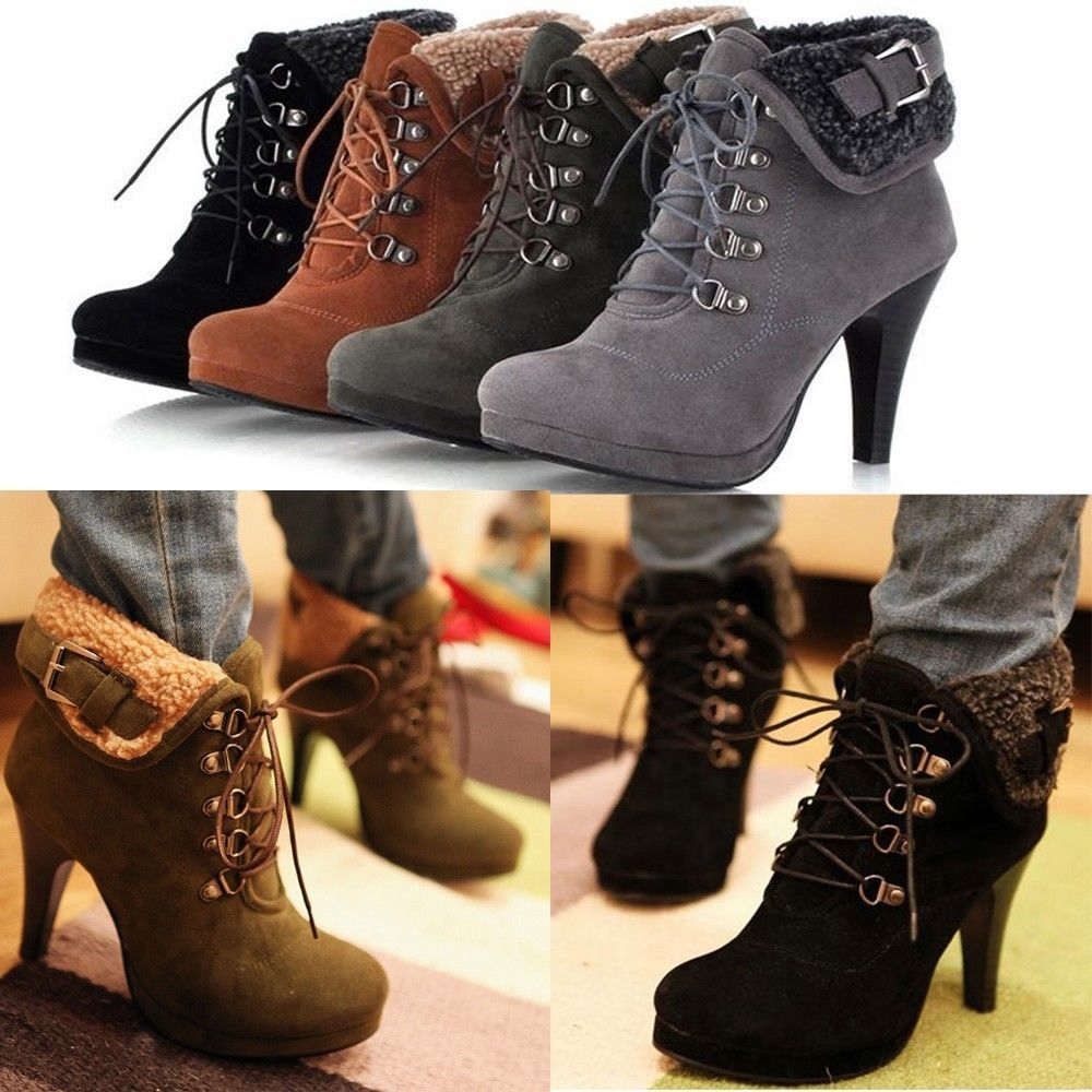 Womens Stiletto Heels Fur Lining Ankle Boots Lace Up Buckle Platform Boots Pumps