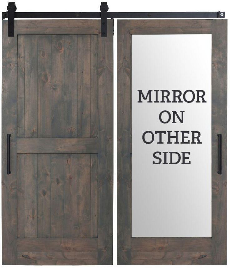 Custom Made Two Panel Framed Rustic Farmhouse With Back Side Mirror Sliding Barn Door In 2020 Barn Door Handles Mirror Barn Door Bathroom Barn Door