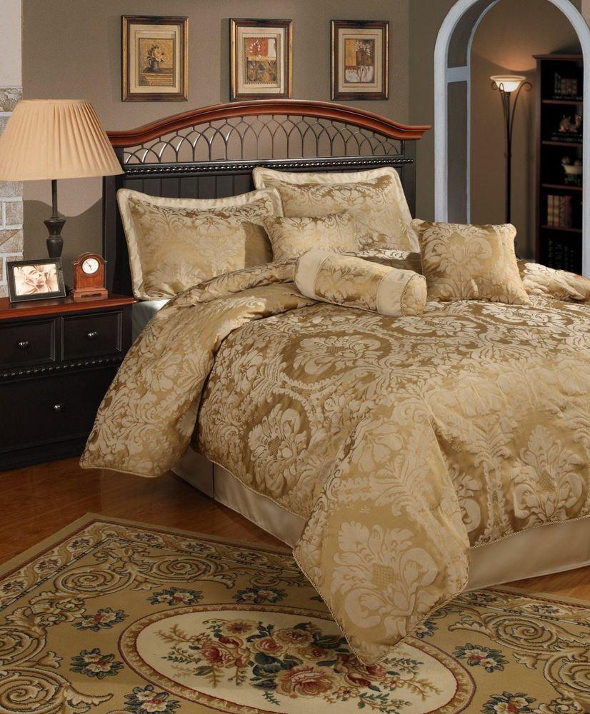 Beautiful Sophisticated Elegant 7 Pc Gold Comforter Set King