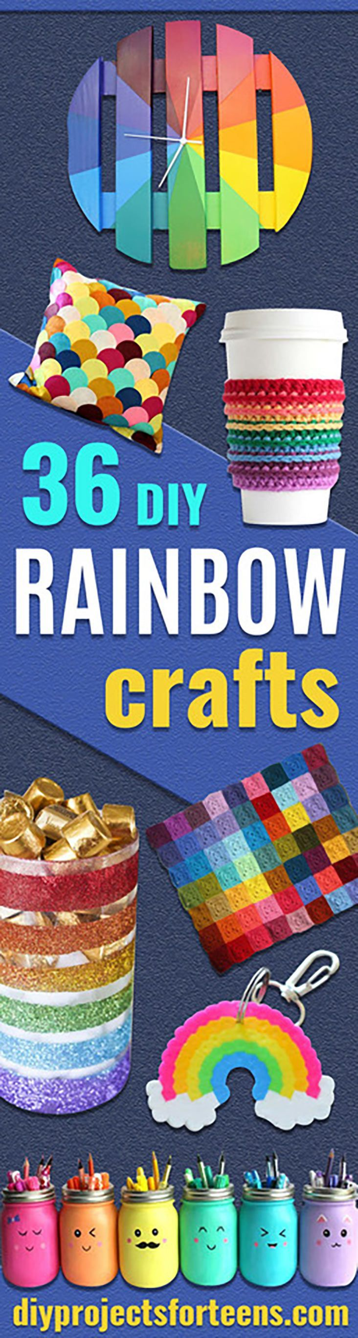 Best DIY Rainbow Crafts Ideas - Fun DIY Projects With Rainbows Make Cool Room and Wall Decor, Party and Gift Ideas, Clothes, Jewelry and Hair Accessories - Awesome Ideas and Step by Step Tutorials for Teens and Adults, Girls and Tweens http://diyprojectsforteens.com/diy-projects-with-rainbows