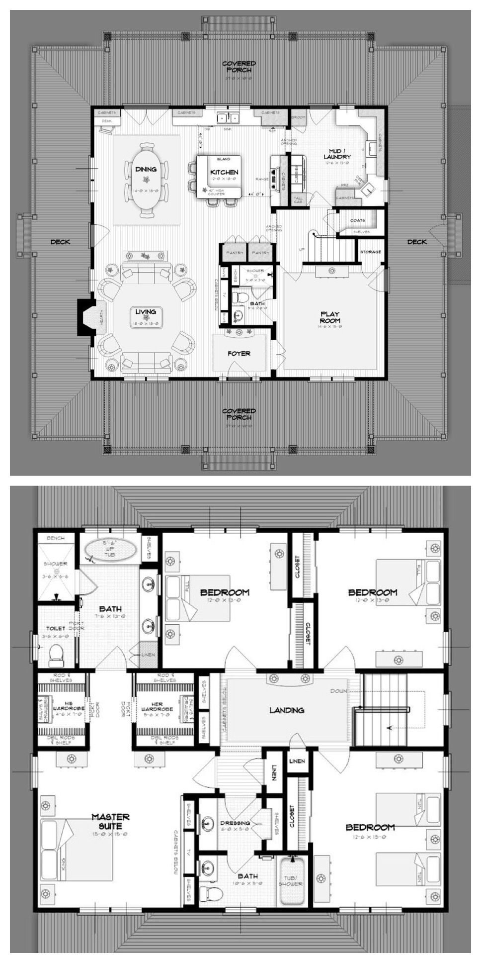 Practical Family Floor Plan Open Layout Mud Room Lots Of Storage Wraparound Porch Fireplace Fo Square House Plans Square Floor Plans House Plans Farmhouse
