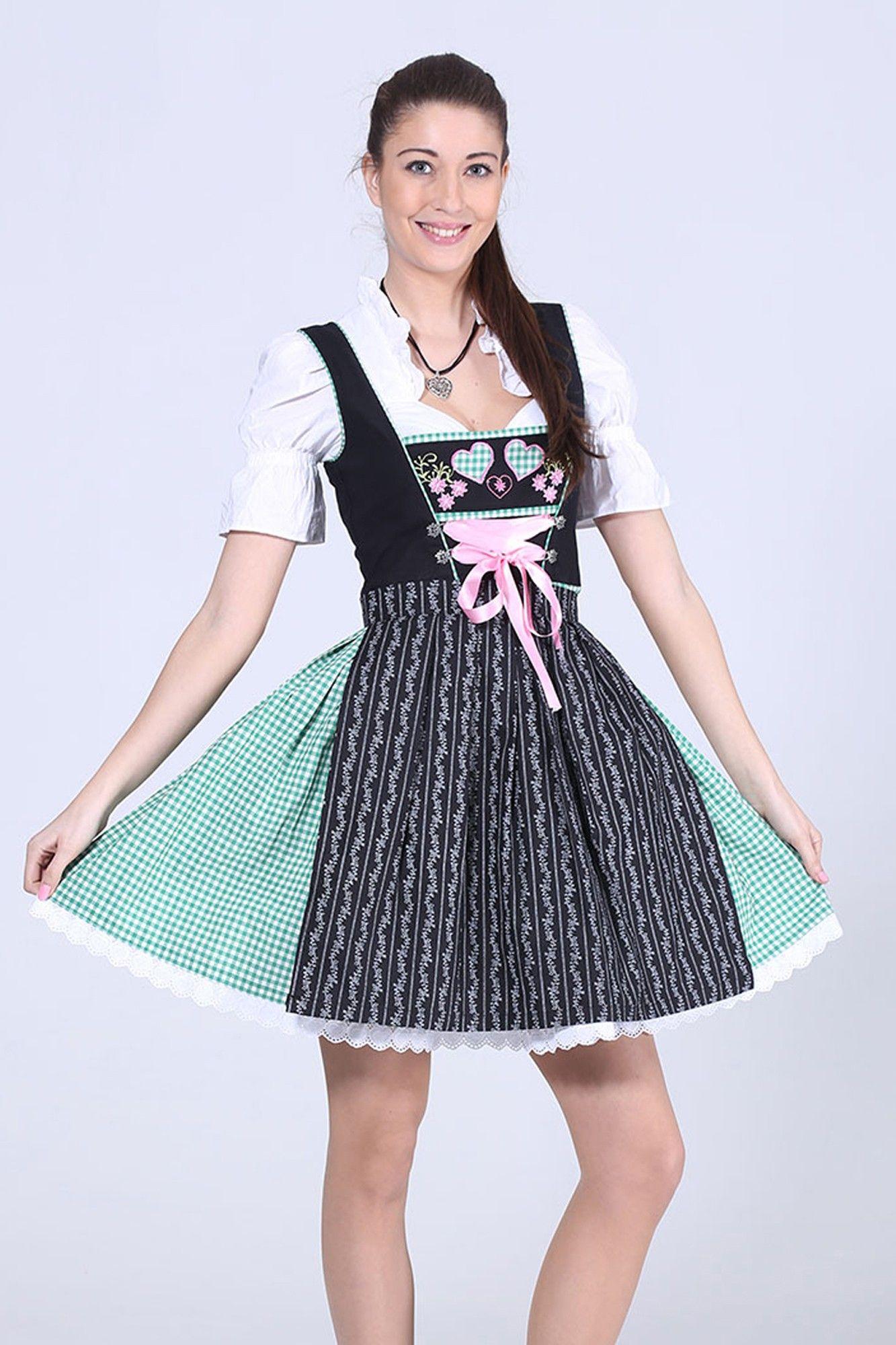Herziges 3tlg. #MiniDirndl Grünkariert mit Bluse und Schuerze 59,90 € . Machen Sie sich bereit für #Munich #Frühlingsfest 2016
