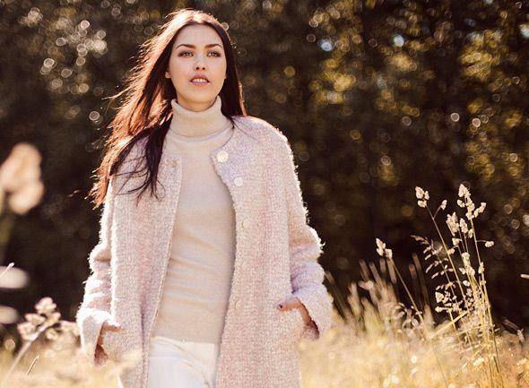 Pale pink boucle coat
