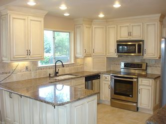 Best Example Of Antique White Glazed Cabinets Kitchen 400 x 300