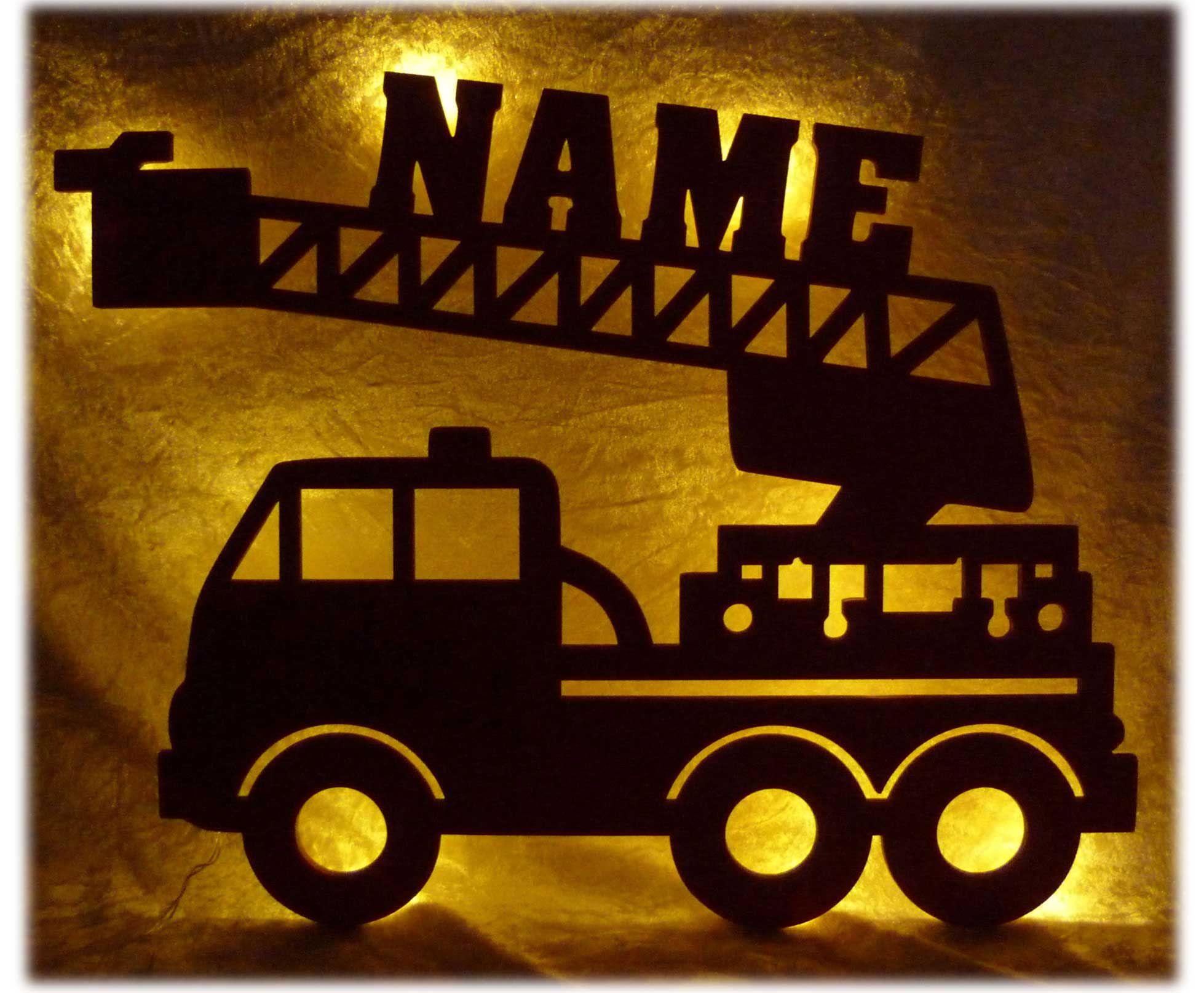 Led Feuerwehr Wagen Feuerwehrauto Lampe Mit Namen Feuerwehrauto Auto Namen Lampe
