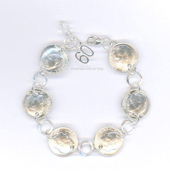 60th Birthday Gift Jewelry 1958 Anniversary Women Dime Coin Silver Bracelet Birt