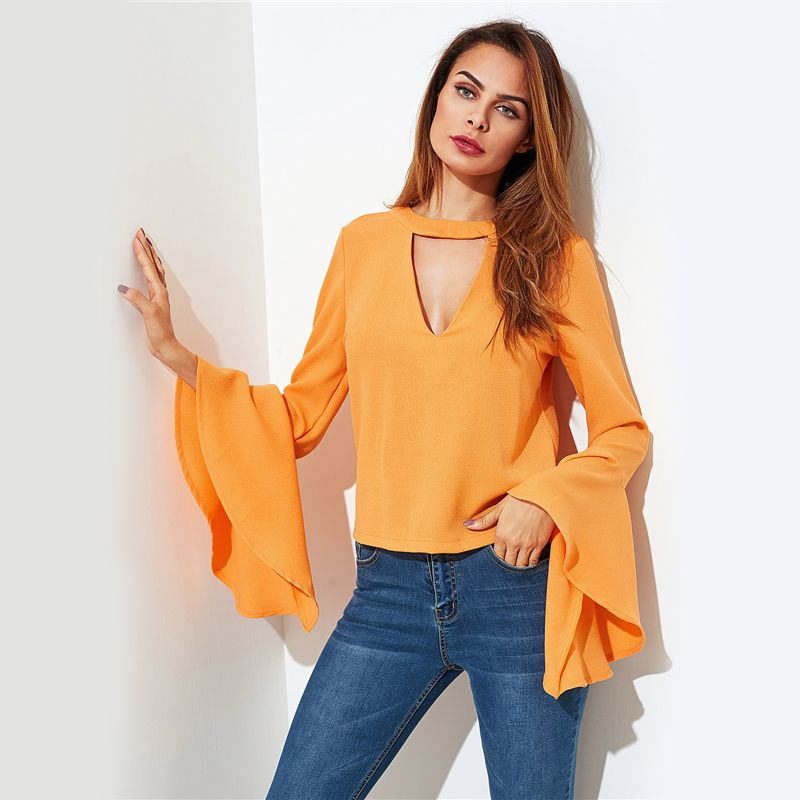 c95660df4c3db Sheinside Choker Neck Tie Back Flare Sleeve Blouse 2017 V Neck Slim Top  With Ruffle