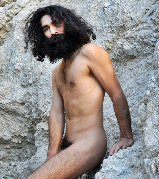 Mature Guy Long Hair Hippy Nude with Beard Outside