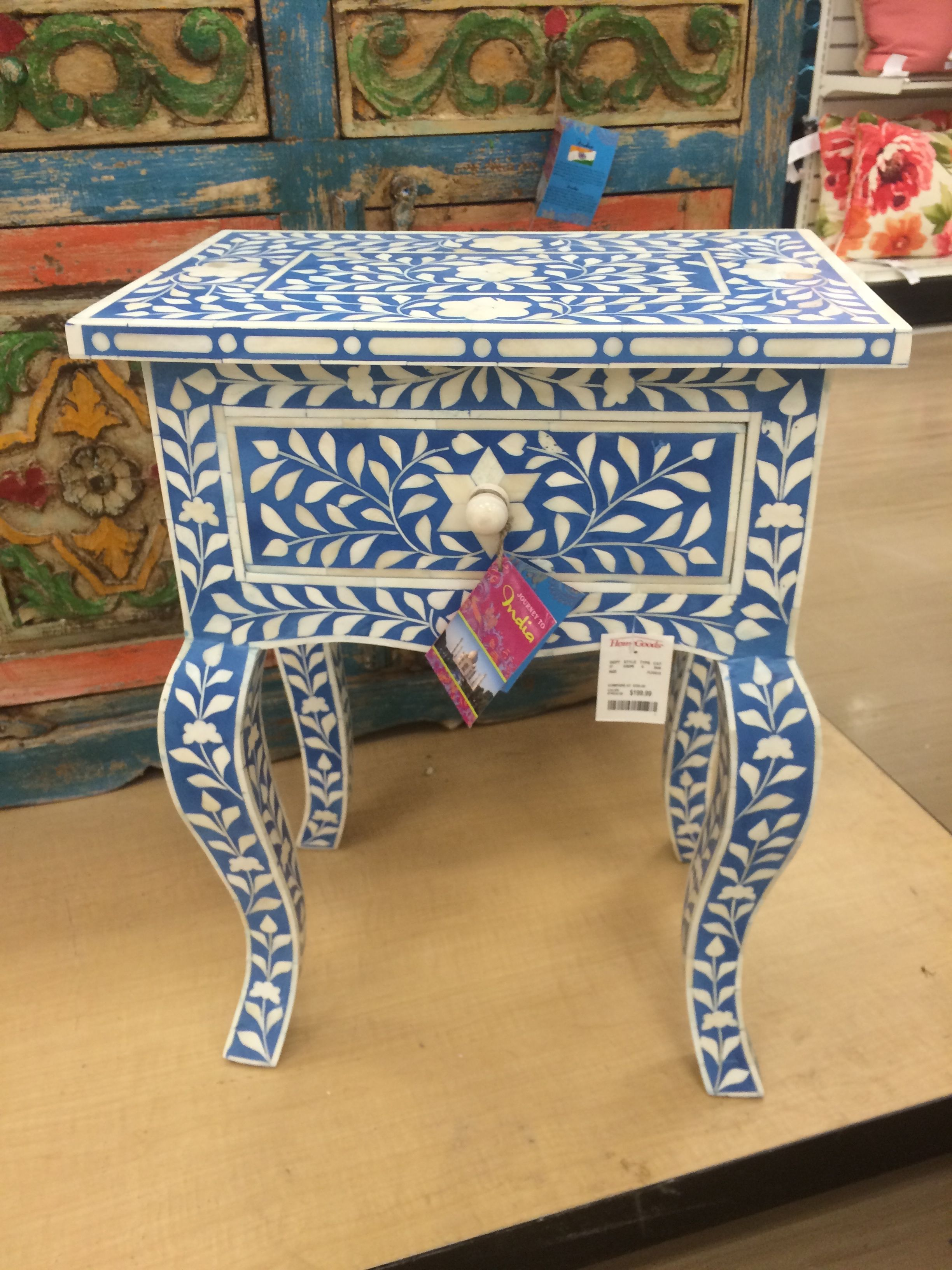 Small Accent Table From Homegoods For Drink And Book Next To Sofa In Your  Office. Responsible Bone Inlay