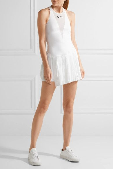 Maria Dri-fit Pleated Mesh-paneled Stretch Tennis Dress - White Nike 8phkYwOLO