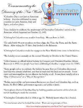 Holiday Fact Sheet Columbus Day Holiday Facts Columbus Day Holiday Fact Sheet