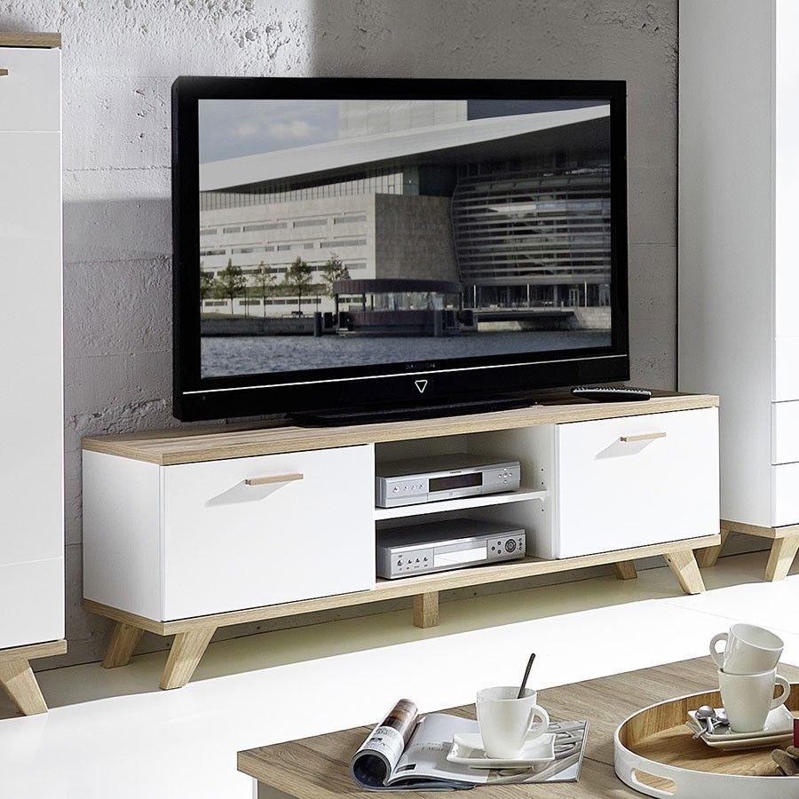 Meuble Tv Blanc Et Couleur Ch Ne Clair Contemporain Malmo Meuble  # Meuble Tv Chene Blanc
