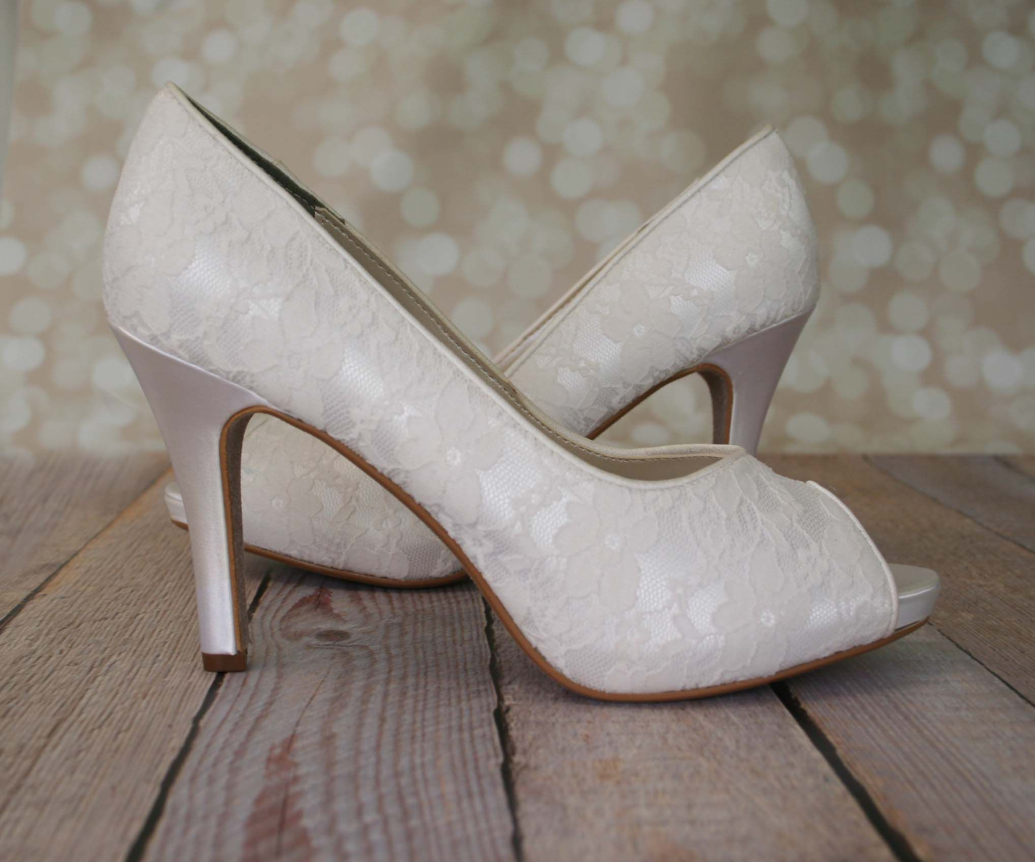 Ivory Wedding Shoes Peep Toes Lace Overlay
