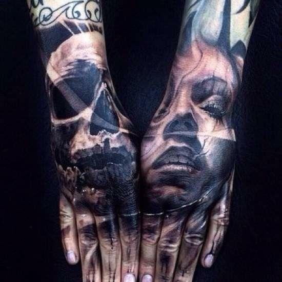 Ink Addicts Around The World Unite 50 Photos Skull Hand Tattoo Hand Tattoos Full Hand Tattoo