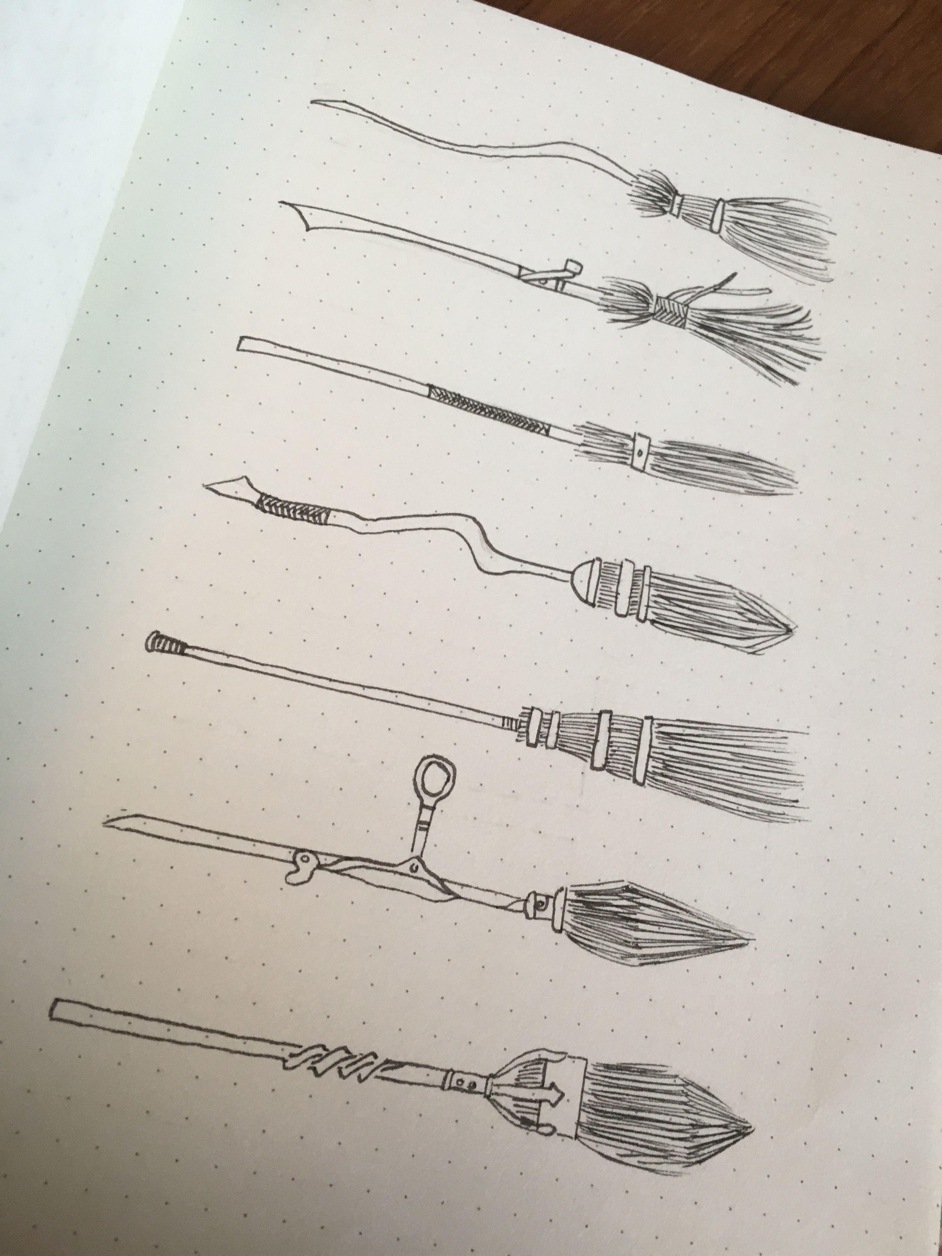 Harry Potter Broomsticks Halloweenbulletjournal Harry Potter Broomsticks Harry Potter Journal Harry Potter Broomstick Harry Potter Sketch