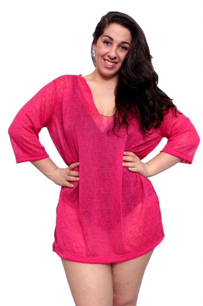 e956cb4e47 Plus Size Beach Dress Chiffon Long Sleeve Swimwear Cover-up Made in the USA