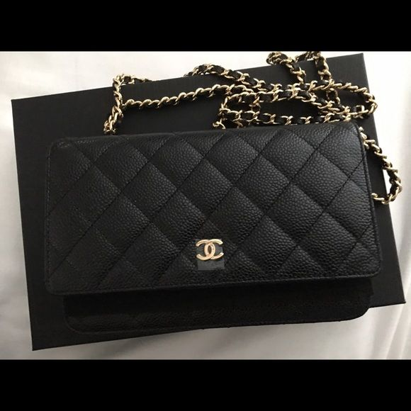 abd85c86bb46 Designer Handbags · Brand new Chanel WOC black caviar gold hardware Brand  new and authentic Chanel WOC in black