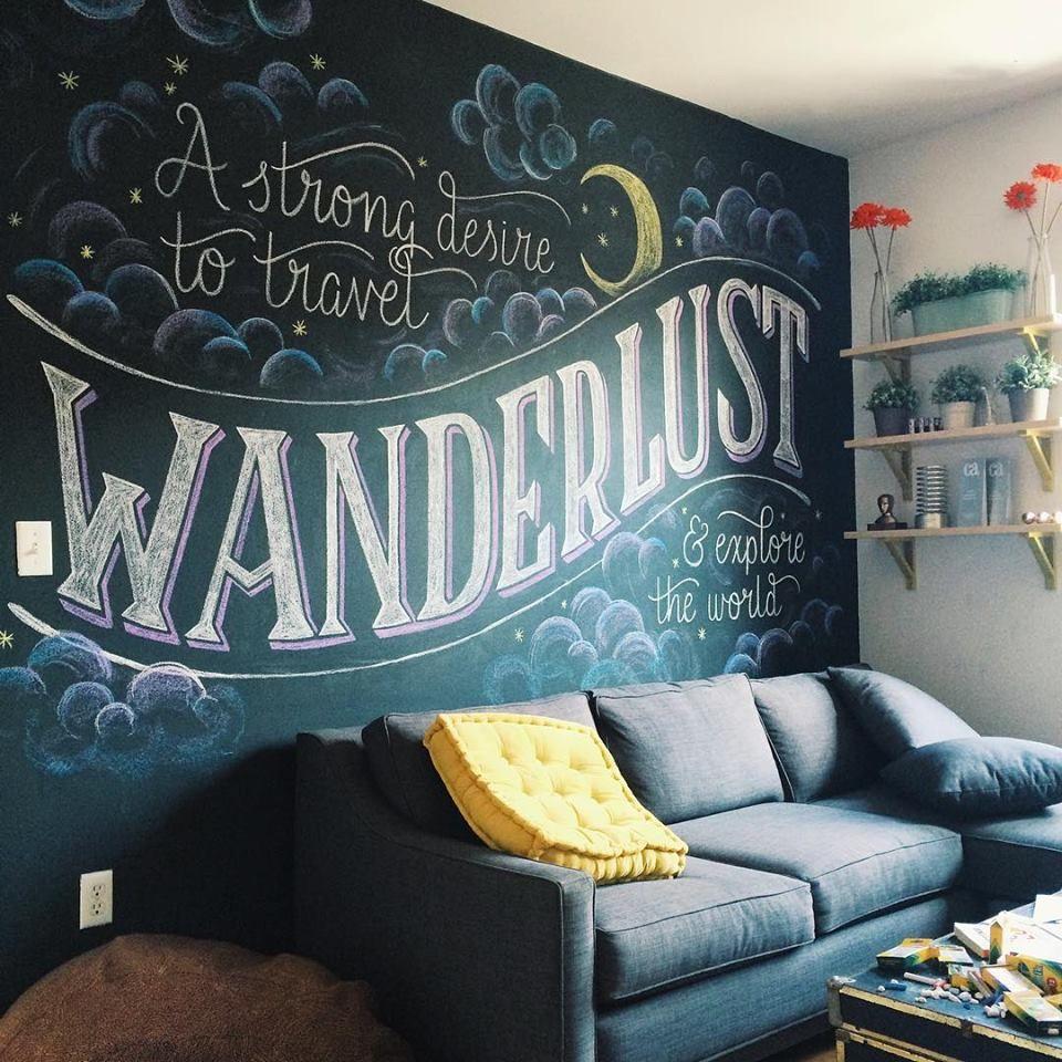 Wanderlust Chalkboard Wall Bedroom Chalkboard Wall Decor Chalkboard Wall Art