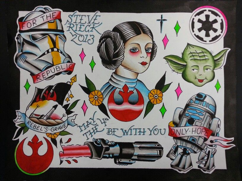 May the 4th be with you tattoo flash by steve rieck las vegas
