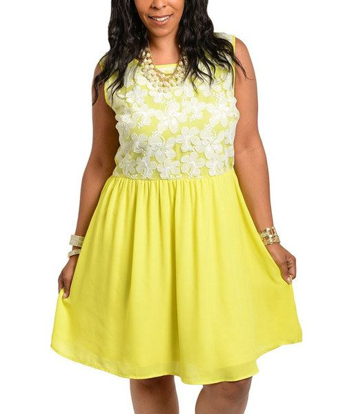 79218f9b50a Look at this Yellow   White Floral Embroidered Empire-Waist Dress - Plus on   zulily today!