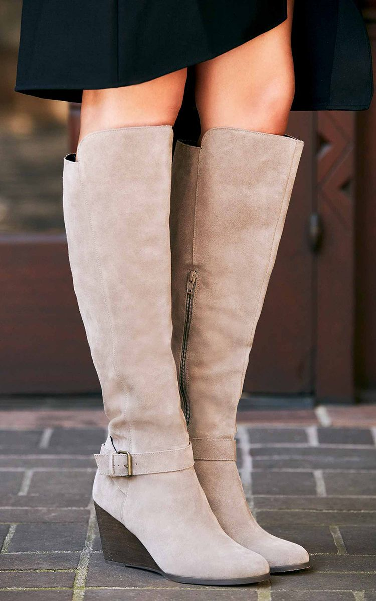 28df7879547 Taupe suede tall boots with comfortable wedge heels and side buckles