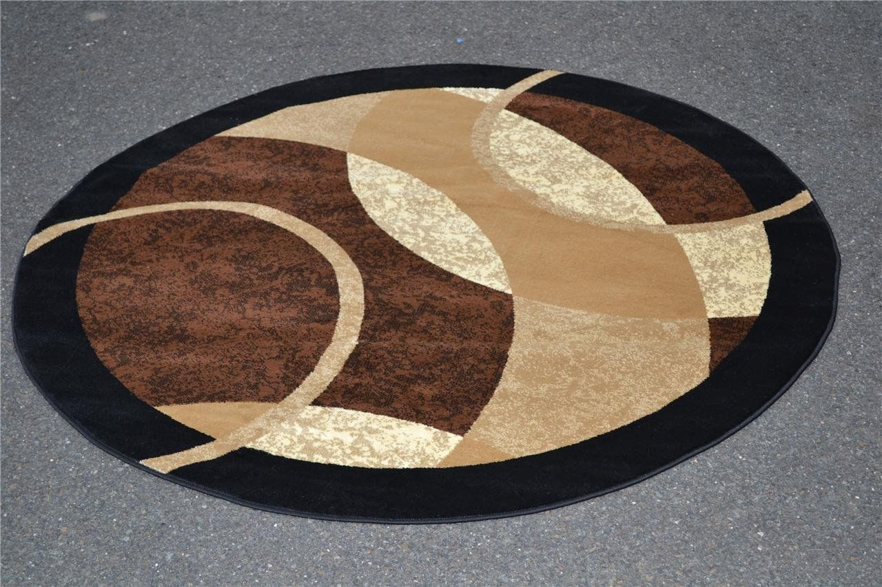 Amazon Com 1052 Brown 6 5x6 5 Area Rugs Modern Contemporary Abstract Black Ivory Beige Carpet Unique Area Rugs Contemporary Round Rugs Round Area Rugs Contemporary round area rugs