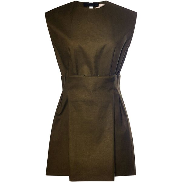No. 21 Cotton Bianca Dress (£585) ❤ liked on Polyvore featuring dresses, shirred dress, brown dress, short skirts, cotton mini skirt and short brown skirt