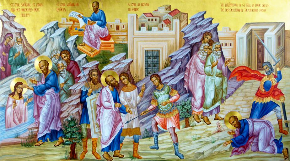 wonderful icon depicting scenes from the life of Holy Apostle Paul
