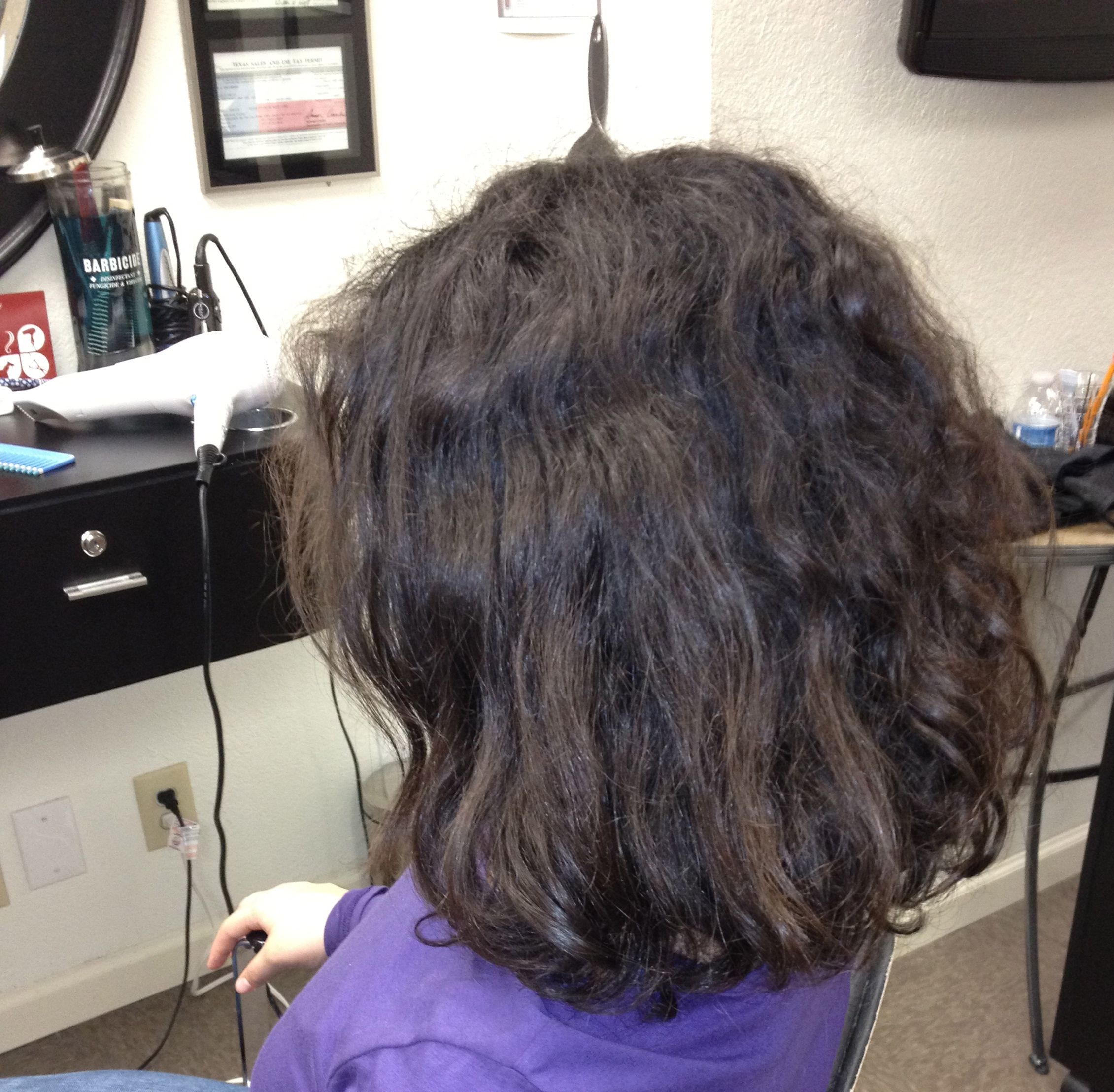 Mariosel prior to her Brazilian Blowout Smoothing Treatment  What a