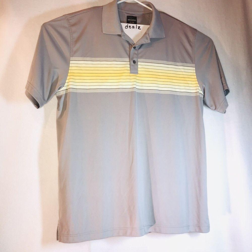 Greg Norman Polo Shirt Polyester/cotton Blend Green Short Sleeve Mens Medium Casual Button-down Shirts