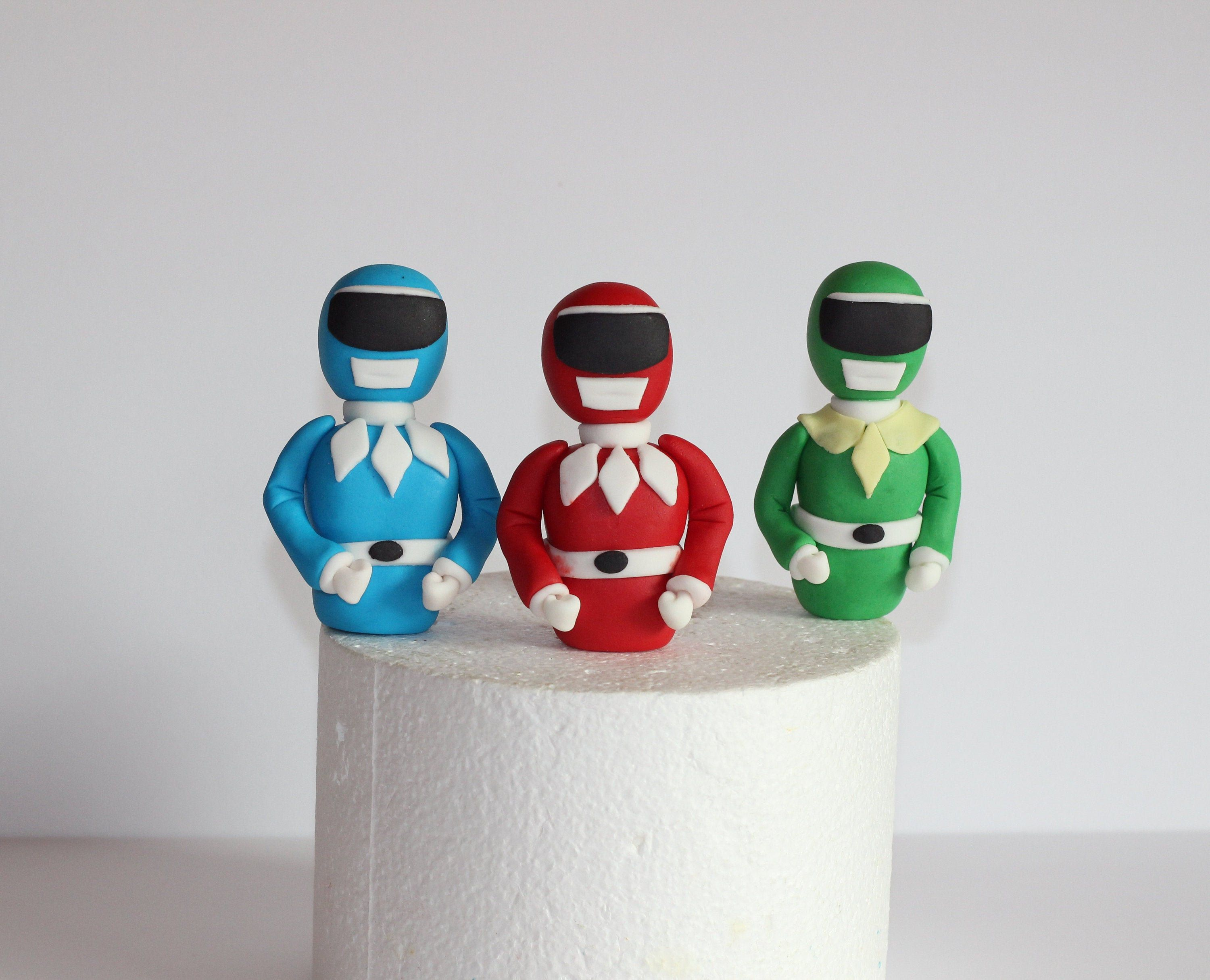 Fondant power rangers toppers cake toppers cake decoration