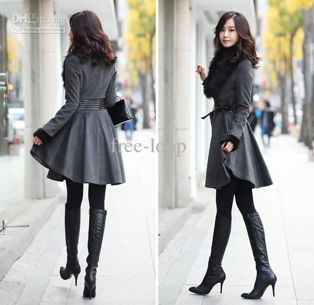 Ladies black wool coat with fur collar