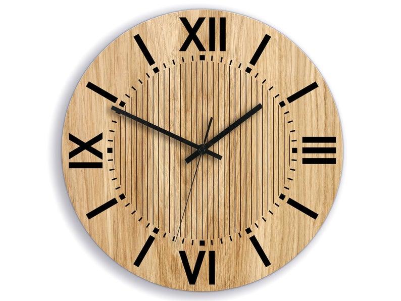 Wood Clock Santiago 335cm 1319 Industrial Modern Etsy Wall Clock Industrial Clock Wall Wood Clocks