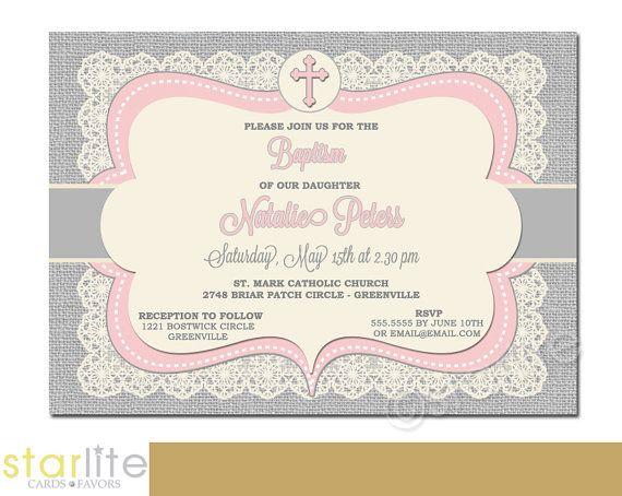 for Girls, burlap lace Baptism Invitation Pink Grey Vintage Lace - invitation for baptism girl