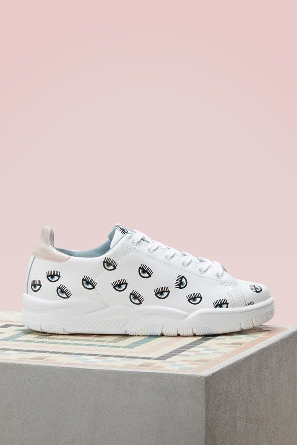 d3c11c4356f9 Chiara Ferragni Leather eyes all over sneakers
