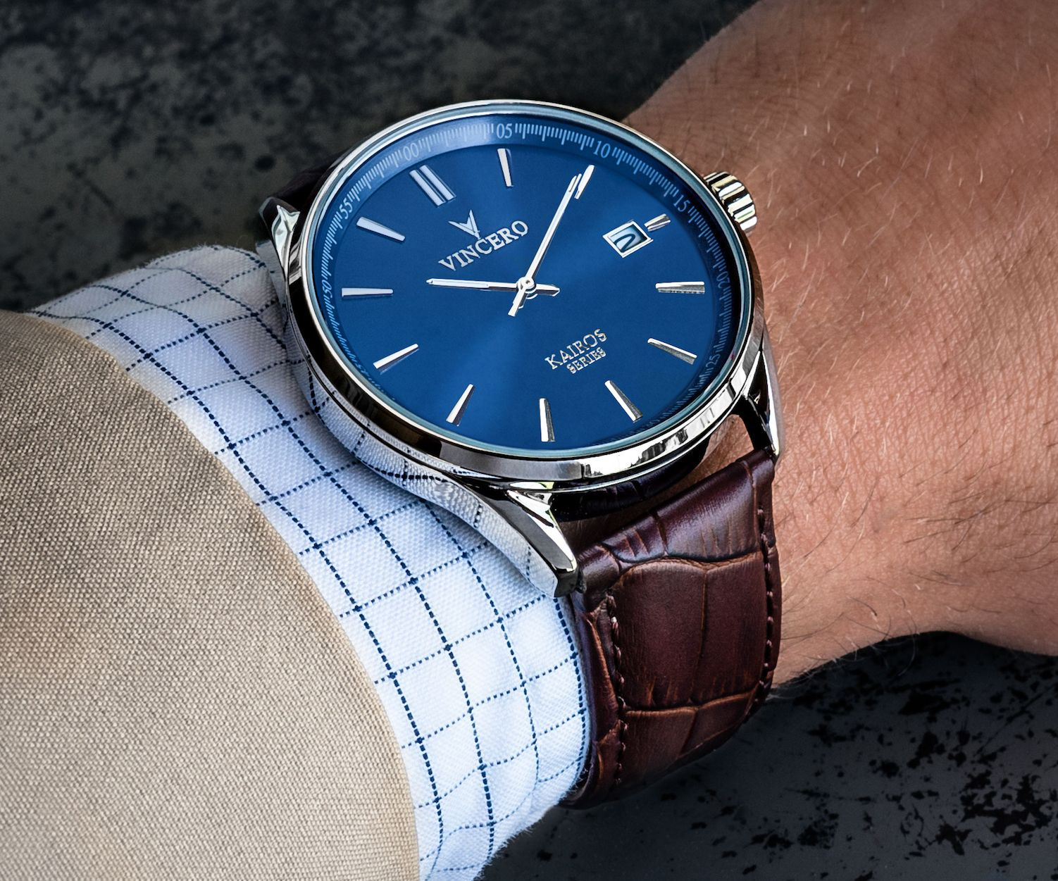 The Kairos Blue Brown Luxury Watches For Men Leather Band Leather Watch Bands