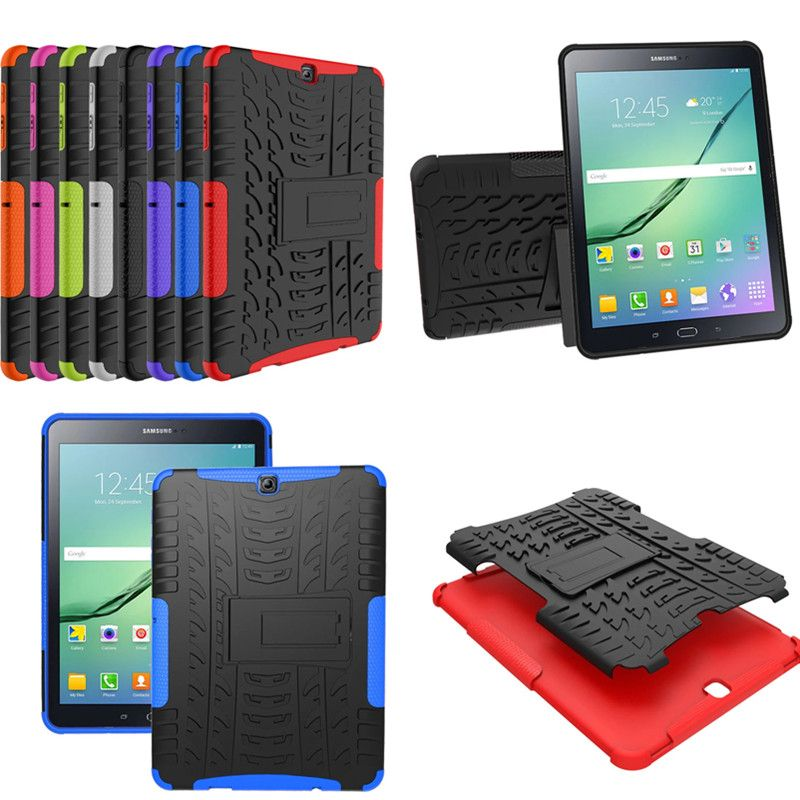 """HH Heavy Duty Armor Tire Style Hybrid TPU PC Hard Cover Case for Samsung GALAXY Tab S2 9.7"""" SM T810 T815 T813 T819 tablet PC"""