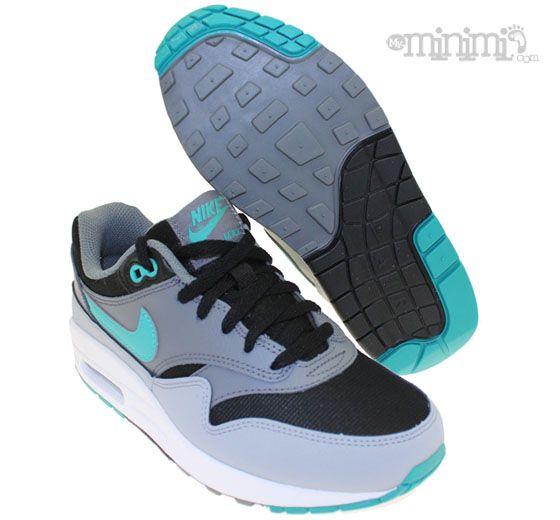 Nouveaux produits 8836a 0ca45 Nike Air Max 1 - baskets enfant GS - gris, noir et bleu ...