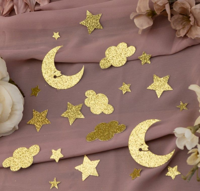 Baby shower 1st birthday party twinkle twinkle little star table decor confetti Glitter Light Pink stars Gold Moons